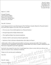 financial analyst cover letter sample financial analyst cover letter