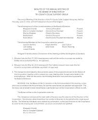 Annual Board Of Directors Meeting Minutes Template Notice