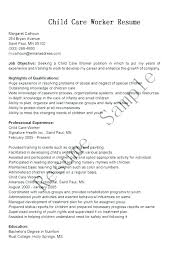 Youth Care Worker Job Description Cover Letter For Child Care Worker