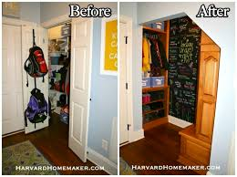 transform a closet under your stairs to create a fun and functional mudroom harvard