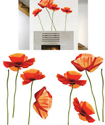 on poppy wall art stickers with art applique poppies wall sticker