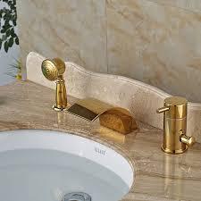 waterfall bathtub faucet wall mount fresh led light bathroom gold bath shower mixer taps widespread deck