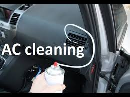 air conditioning cleaning. how to clean, treat air conditioning on a car with cleaning foam. fix smelly ac