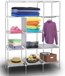 oxgord portable storage organizer wardrobe closet shoe rack customizable shelves stainless steel frame side pockets 69 x 51 x 18 beige