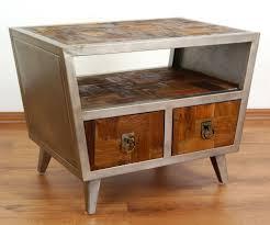 simmons modern furniture metal side table 2. u0027modern industrial designu0027 bedside table 2 drawers teak wood steel frame simmons modern furniture metal side
