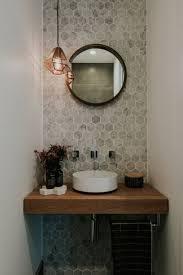 bathroom with hexagon tiles