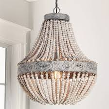 unique chandelier lighting. Aged Wood Beaded Chandelier Unique Lighting H