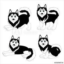 set of cute cartoon dogs husky wall