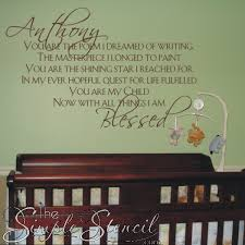 a beautiful custom wall decal poem for a baby s nursery that can be customized with babies