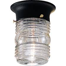 outdoor ceiling flush mount light fixture with clear marine glass