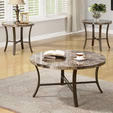 3 piece round coffee table and end table set with faux marble top round coffee table sets
