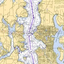 Washington Seattle Nautical Chart Decor