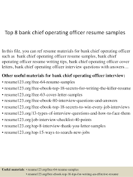 Chief Operating Officer Resumes Top 8 Bank Chief Operating Officer Resume Samples