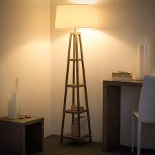 Houten En Katoenen Staande Lamp H 170 Cm