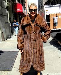 pre owned natural demi buff mink coat w fringes swirl bottom size 10 12