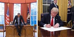 Image result for trump desk day one obama desk day one