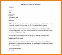 Example Of Thank You Notes Sample After Internship Thank You Letter