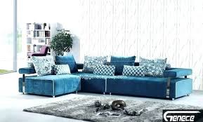 Printed Fabric Sofas Modern Sofa Designs Teal Blue L Shaped Velvet With Arm  And Colored Couches29