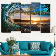 unframe 5 pieces large canvas wall art huge wave painting modern ocean decor printed painting canvas pictures for living room in painting calligraphy from