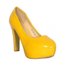 female patent leather high heel shoes yellow