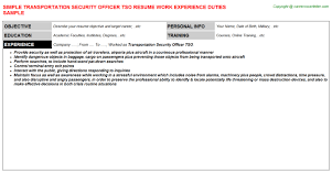 Transportation Security Officer Tso Resume | Resumes Templates ...