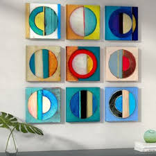 >navy blue and yellow wall art wayfair  textured circles yellow and blue 9 piece canvas wall art set