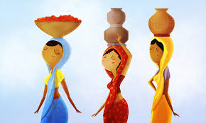 three people india girl ethnic ethnic group woman bring porcelain painting mesmerizing indian wall art blue