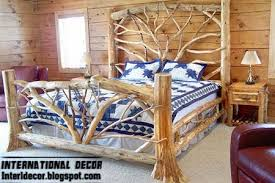 Bedroom  Wooden King Size Bed Frame Rustic Platform Bed Frame Country Style Bed