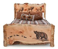 rustic log furniture ideas. carved log bed with bear u0026 elk by woodland creek rustic furniture pinterest and logs ideas