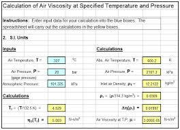 air viscosity calculator pressure temperature spreadsheet