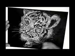 tiger black and white drawing. Modren White Drawing Tiger Cub White Pen On Black Paper Intended Black And White Drawing W