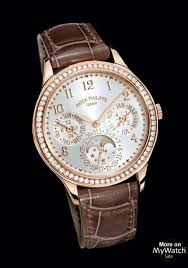 Alligator Patek Pink Grandes Philippe Watch Calendar Ladies Gold - First Diamonds 7140r Complications Perpetual Strap