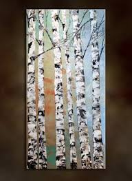 large wall art birch trees