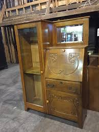 antique oak side by side secretary desk cabinet