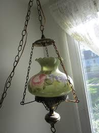 Vintage Hanging Swag Light Hanging Swag Lamp Green Floral Vintage Pendant Chain Cord