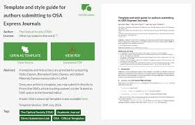 New Osa Express Journal Templates On Overleaf Overleaf Online