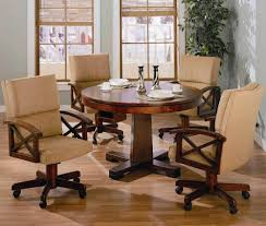 dining room chairs with wheels. Excellent Kitchen Table With Caster Chairs Bernhardt Normandie Manor Round Dining Room Set Large Wheels
