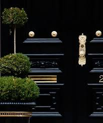 front door in high gloss black paint and bright br hardware very inviting nice clean look curb appeal ideas doors black doors and