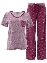 Sag Harbor Burgundy Paisley Pajamas For Women