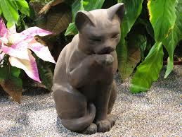 outdoor garden statues. Intricate Cat Garden Statue Cast Stone Cement Contented Outdoor Statues