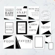black and white pictures for babies printable baby shower signs black and white baby shower printable etsy