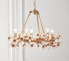 pottery barn kids grace flower chandelier antique gold pink clear pottery barn kids more save