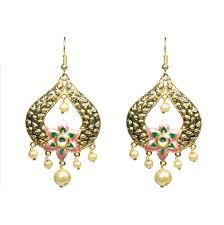 manihaar designer meenakari work peach and green fl design golden chandelier earrings