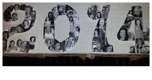 wooden numbers bought from hobby lobby and pictures glued on for graduation party