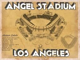 Los Angeles Angels Angel Stadium Vintage Seating Chart Baseball Print
