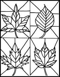 Kleuren Kleurplaat Herfstbladeren Als Glas In Lood Inkleuren Met