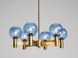 chandelier in glass and brass sweden 1960s a chandelier in patinated brass