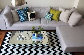 Chevorn carpet and mirrored coffee table for living room