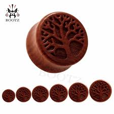 new fashion wood life tree carved ear tunnel plugs ear gauges piercing jewelry free