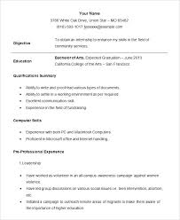Recent Graduate Resume Example Sample Student Internship Resume